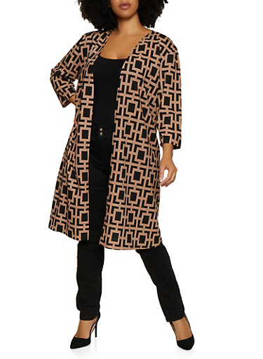Plus Size Crepe Knit Printed Duster,BLACK,large