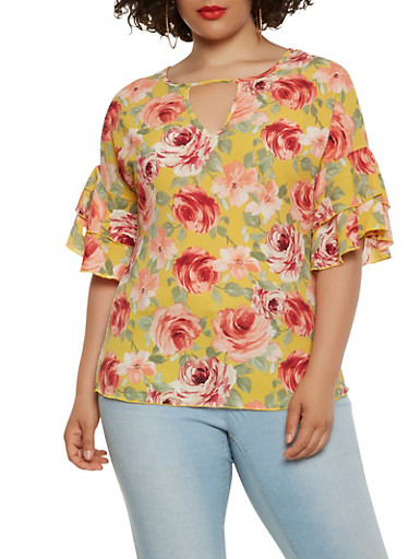 Plus Size Floral Tiered Sleeve Keyhole Top,MUSTARD,large