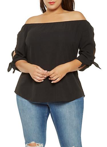 Plus Size Off the Shoulder Tie Sleeve Top,BLACK,large