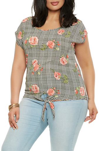 Plus Size Floral Houndstooth Tie Front Top,BLACK,large