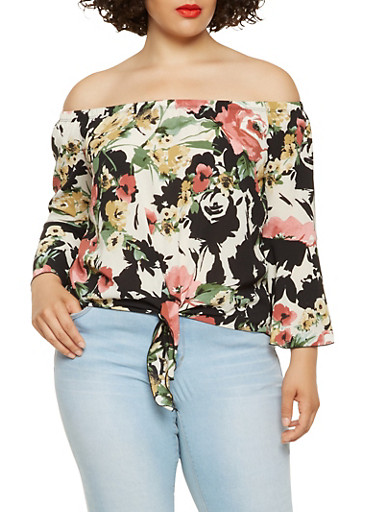 Plus Size Off the Shoulder Floral Top,BLACK,large