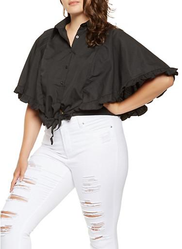Plus Size Ruffled Poncho Shirt,BLACK,large