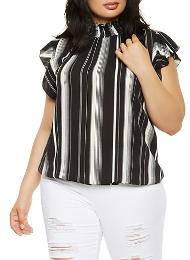 Plus Size Printed Smocked Neck Top,BLACK,large