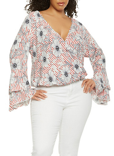 Plus Size Printed Faux Wrap Top,RED,large