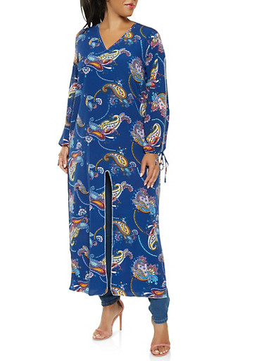 Plus Size Printed Split Sleeve Maxi Top,NAVY,large