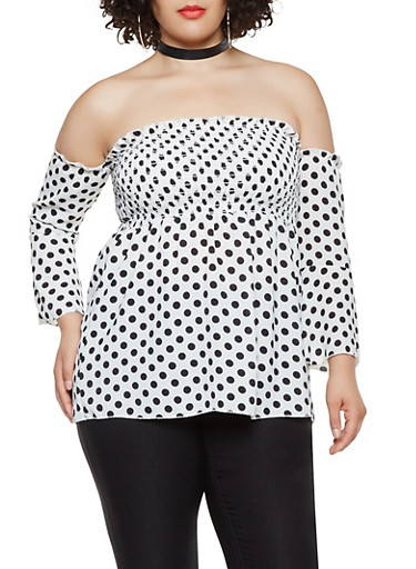 Plus Size Printed Smocked Off the Shoulder Top | Tuggl