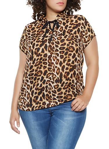 Plus Size Leopard Print Tie Neck Top,BROWN,large