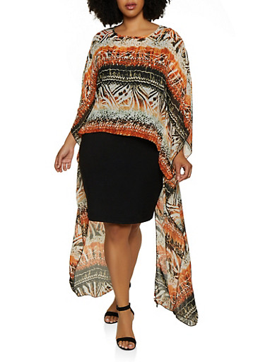 Plus Size Printed Split Back High Low Blouse,IVORY,large