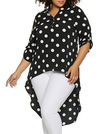Plus Size Half Button Printed High Low Top,BLACK/WHITE,large