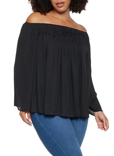 Plus Size Ruched Off the Shoulder Top,BLACK,large