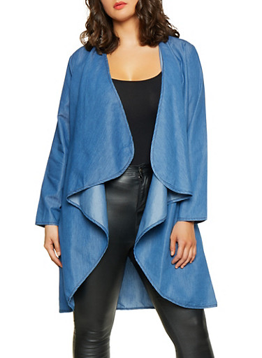 Plus Size Flyaway Chambray Duster,LIGHT WASH,large