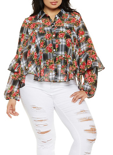 Plus Size Floral Plaid Shirt,BLACK,large