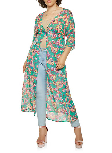 Plus Size Printed 3 Button Maxi Top,GREEN,large