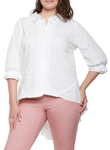 Plus Size High Low Button Front Shirt,WHITE,large