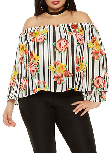 Plus Size Printed Off the Shoulder Overlay Top,BLACK,large