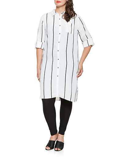 Plus Size Striped Button Front Tunic Top,WHITE,large