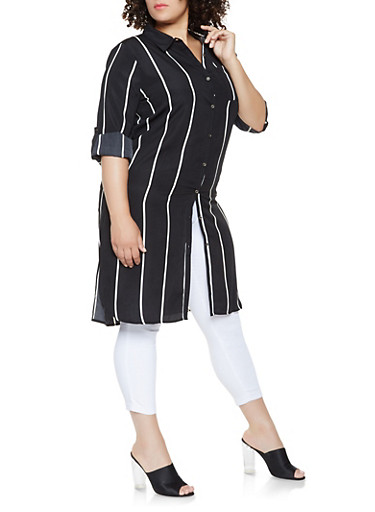 Plus Size Striped Button Front Tunic Top,BLACK/WHITE,large