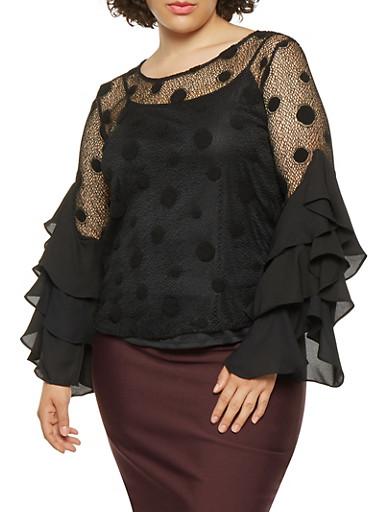 Plus Size Polka Dot Mesh Top,BLACK,large