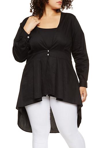 Plus Size High Low Shirt,BLACK,large