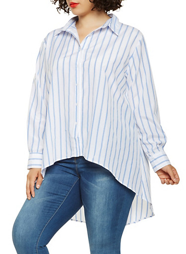 Plus Size Striped Button Front High Low Top,BLUE,large