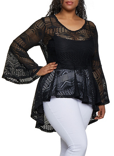 Plus Size Printed Lace High Low Ruffle Top,BLACK,large