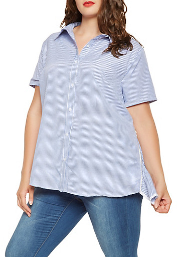 Plus Size Striped Zip Side Shirt,BABY BLUE,large