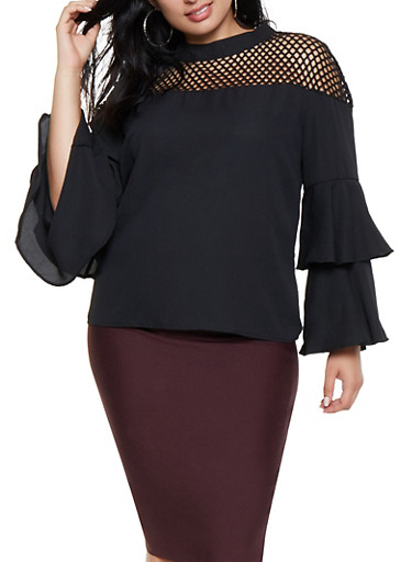 Plus Size Fishnet Yoke Tiered Sleeve Top,BLACK,large