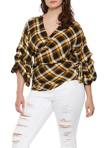 Plus Size Plaid Bubble Sleeve Wrap Top,BLACK/WHITE,large