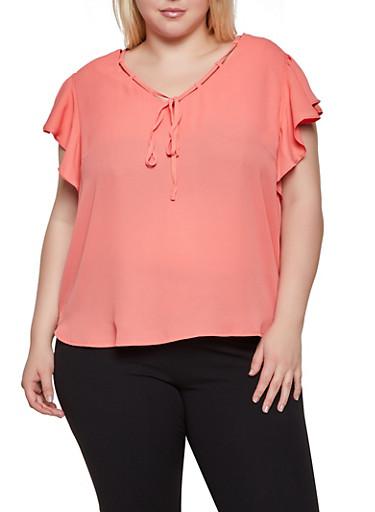 Plus Size Threaded V Neck Blouse,ORANGE,large