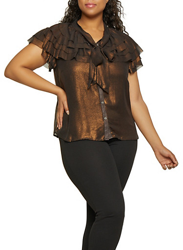 Plus Size Tiered Shimmer Knit Shirt,BLACK,large