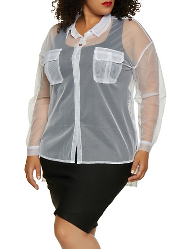 Plus Size Button Front High Low Mesh Top,WHITE,large