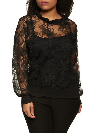 Plus Size Floral Mesh Ruffle Neck Top,BLACK,large