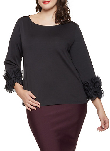 Plus Size Chiffon Ruffle Cuff Top,BLACK,large