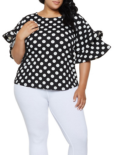 Plus Size Tiered Sleeve Polka Dot Top,BLACK/WHITE,large