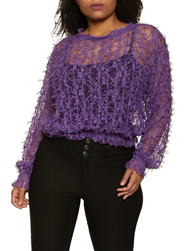 Plus Size Knotted Mesh Top,PURPLE,large