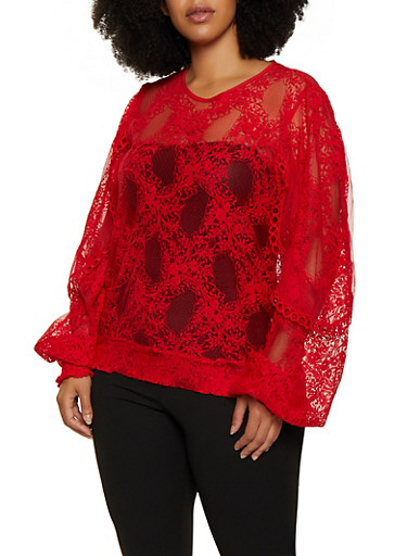 Plus Size Lace Crochet Trim Top,RED,large