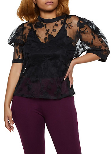 Plus Size Embroidered Organza Balloon Sleeve Top,BLACK,large