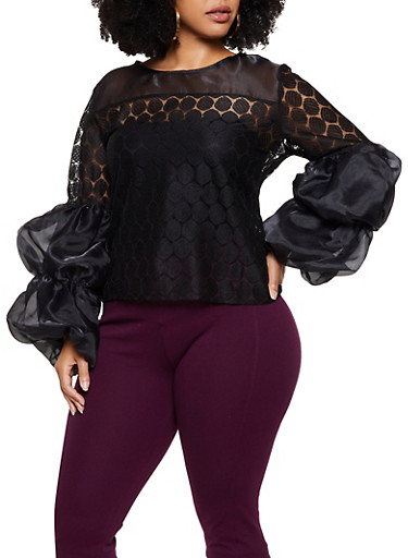 Plus Size Organza Bubble Sleeve Top,BLACK,large
