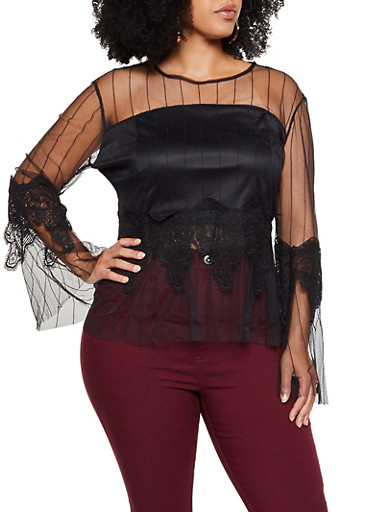 Plus Size Crochet Detail Striped Mesh Top,BLACK,large