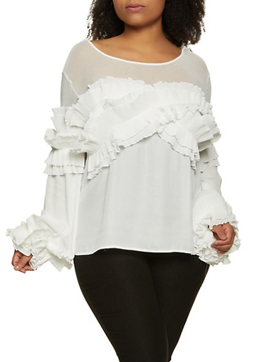 Plus Size Pleated Ruffle Top,WHITE,large