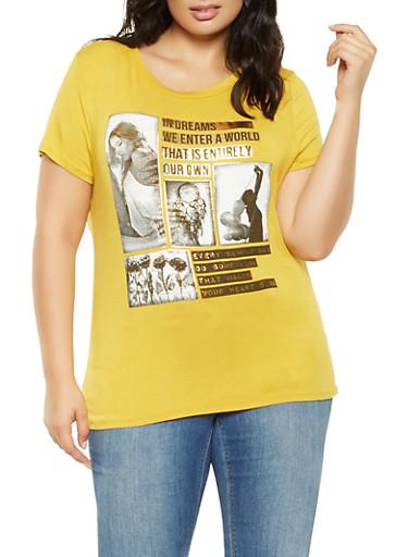 Plus Size Foil Graphic Tee,GOLD,large
