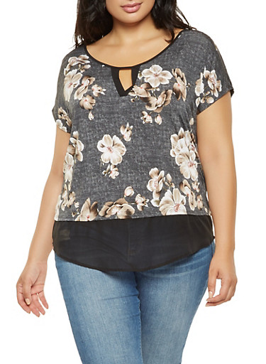 Plus Size Floral Chiffon Trim Top,BLACK,large
