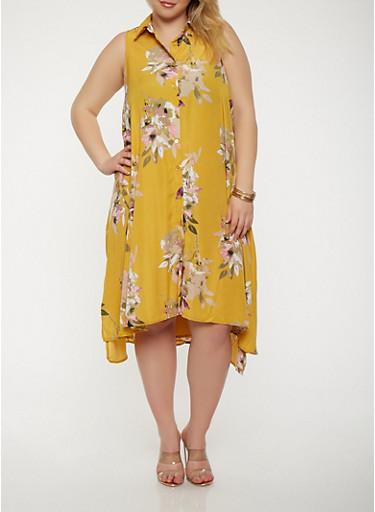 Plus Size Floral Button Front Dress,GOLD,large