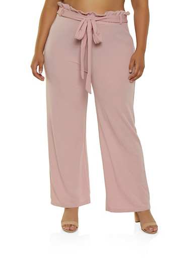 Plus Size Crepe Paper Bag Waist Palazzo Pants,MAUVE,large