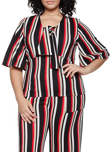 Plus Size Striped Tie Neck Top,RED,large