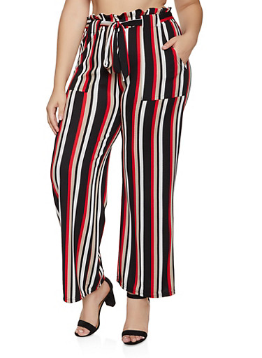 Plus Size Striped Paper Bag Waist Palazzo Pants,RED,large