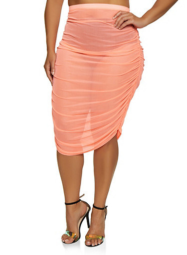 Plus Size Ruched Mesh Skirt by Rainbow