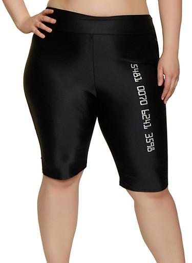 Plus Size Number Graphic Spandex Bike Shorts,BLACK,large