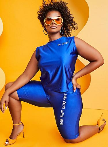 Plus Size Number Graphic Spandex Bike Shorts,RYL BLUE,large