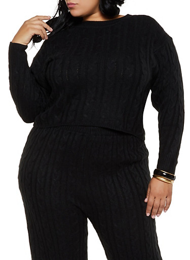 Plus Size Cable Knit Crew Neck Sweater,BLACK,large